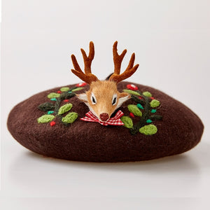 Holiday Fawn Forest Wool Felt French Classic Beret |  Hand Made Whimsical Delight