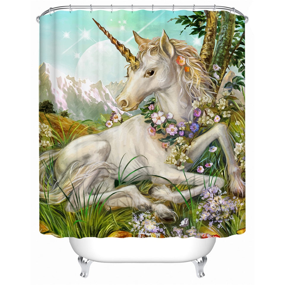 You Magnificent Beast You | Unicorn Shower Curtain With Hooks
