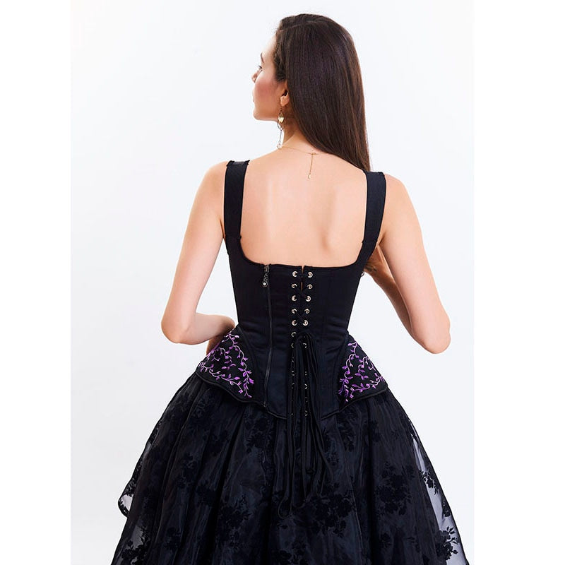 Victorian Gothic Embroidered Corset | Black, Navy, Red, or White