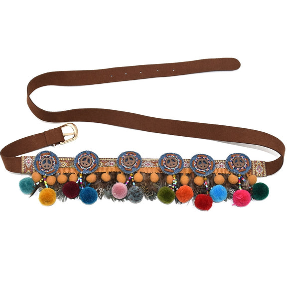 Gypsy Boho Charm Belt With Colorful Pom Poms Charm