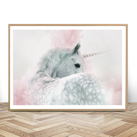 Whimsical Pink and Grey Unicorn Wall Art Canvas Print | Girls Bedroom Decor Nursery | Unframed