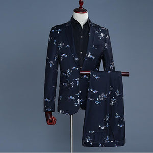 Bird Print Mens Formal Suit