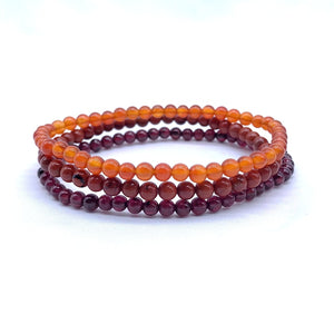 Garnet & Jaspers Natural Gem Stone Bead Bracelet | Set of Three |  4 mm Round Beads |  Healing Energy