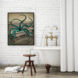 Octopus Bath Time | Canvas Wall Art | Poster Print