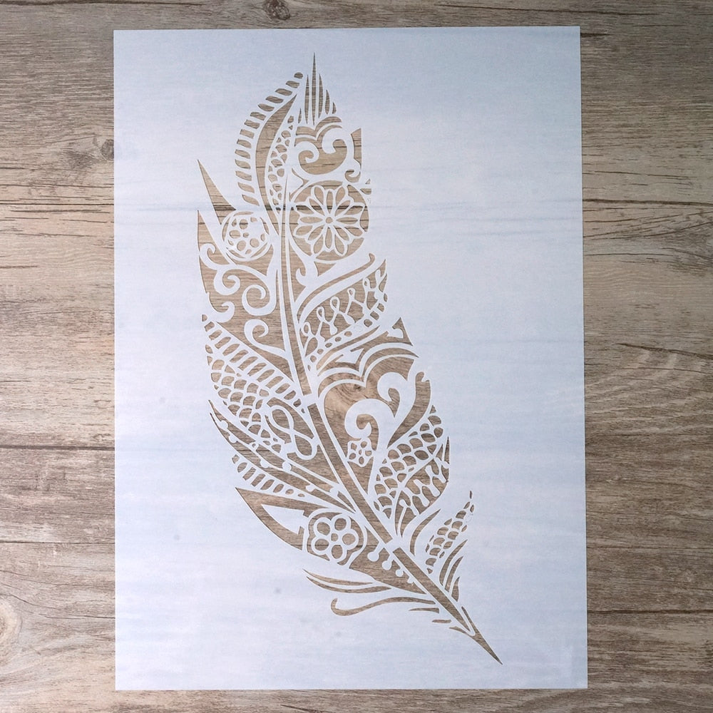 Boho Feather Stencil | A4 A3 A2 Size | DIY Craft Layering Stencil