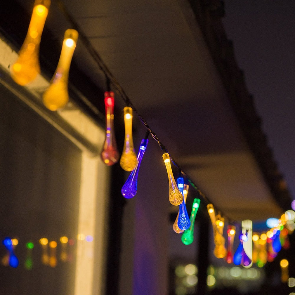 Water Drop Fairy Lights | Solar Panel Lights | Multi Colours