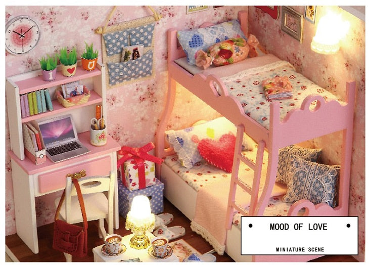 DIY Pink Doll House and Rooms with Miniatures