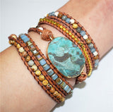 Leather Boho Bracelet | Huge Ocean Crystal Stone