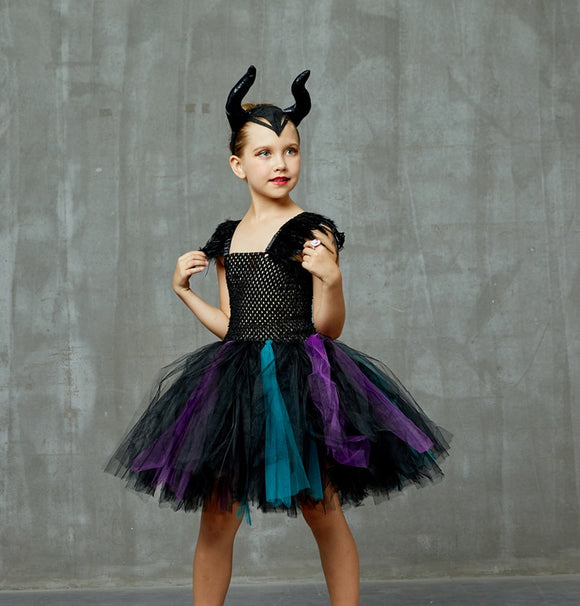 Girls Maleficent Evil Queen Costume | Halloween Party Dress