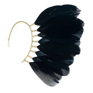 White or Black Feather Ear Cuff