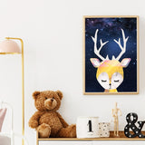 Fox, Bear & Deer Nursery Wall Art Canvas | Woodland Animals Starry Night Sky