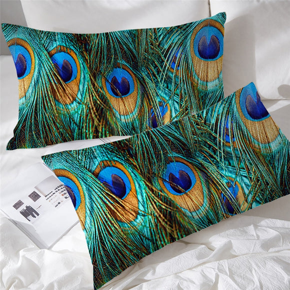 Peacock Feathers | Bohome | Two Pillow Cases