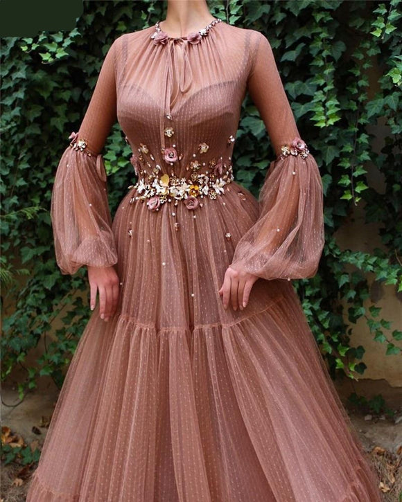Blush Long Sleeve Long Evening Gown with Pretty Flowers