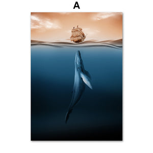 Whale Meets The Sea Ship | Canvas Wall Art | Nordic Posters And Prints