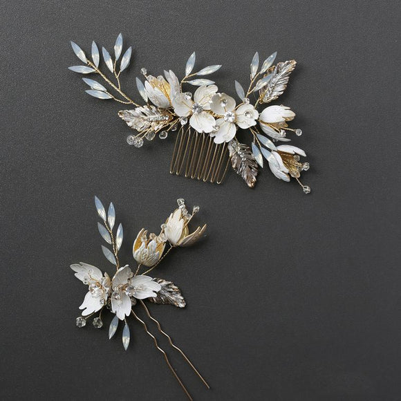 Vintage Gold Opal Crystal Hair Comb and Pin