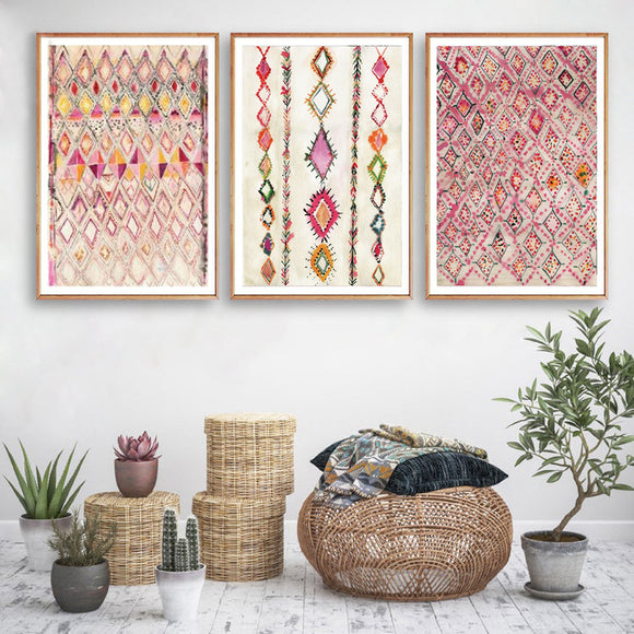 Moroccan Rug Pink Posters and Prints | Eclectic Home Decor