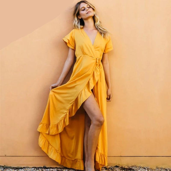 Sunshine Ruffled Wrap Dress - My favourite - YELLOW!!