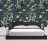 Medieval Hand Drawn Elk Deer Trees Mural Wallpaper