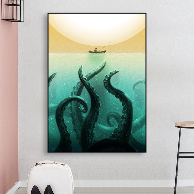 The Octopus and The Fisherman | Canvas Wall Art Print | Framed