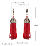 Bohemia Crystal Beads Tassel Earrings