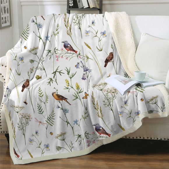 WATERCOLOUR FLORAL BEDDING SET | BUTTERFLY BIRDS BOTANICAL | Sherpa Fleece Blanket