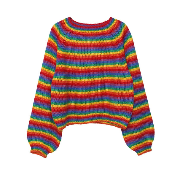 Rainbow Knitted Sweater | Womens Loose Retro Jumper