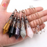 Divination Pendulums | Natural Crystal Healing Stones  | 12 Faceted Pyramid Pendants