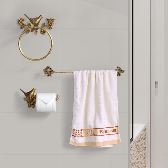 Woodland Gatherer's Bathroom Accessories | Bird Towel Ring, Toilet Roll Holder and Towel Bar