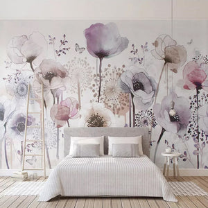 Tall Poppies Watercolor Flower Wall Mural Wallpaper