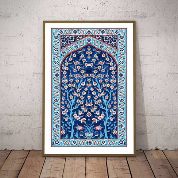 Turkish Tile Tree of Life Watercolor Painting | Print on Canvas
