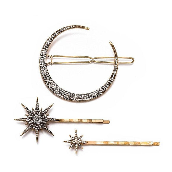 Old Hollywood Star & Crescent Moon Vintage Hairpins