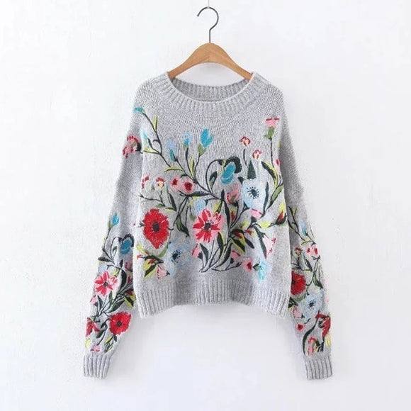 Winter Blooms Embroidered Sweater
