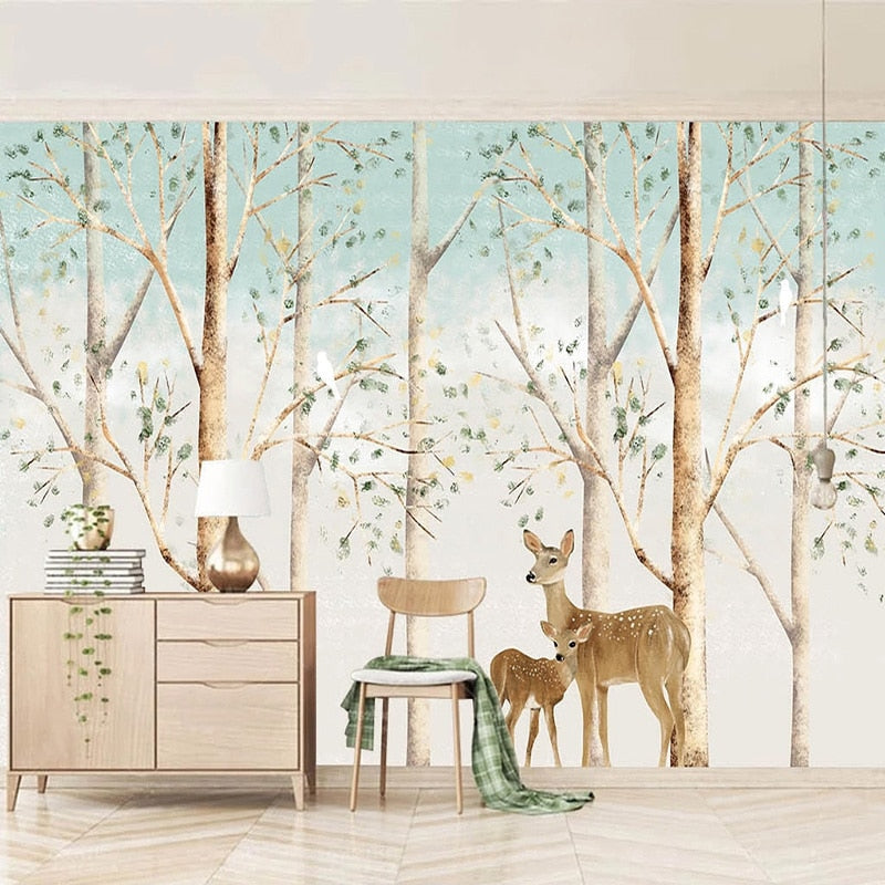 Hand-painted Elk Deer Forest Wall Murals Wallpaper