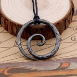 Viking Spiral Pendant - Hand-Forged Iron with Adjustable Leather Neck Cord
