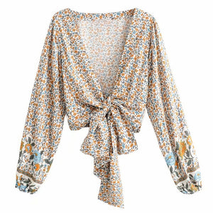 Front Tie Summer Boho Blouse Top