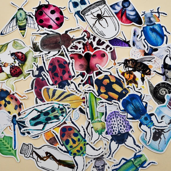36 Watercolour Insect Stickers