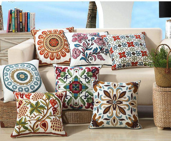 100% Cotton Embroidered Cushion Covers