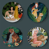 Flora Tiger and Girl Watercolor Plates | Ceramic