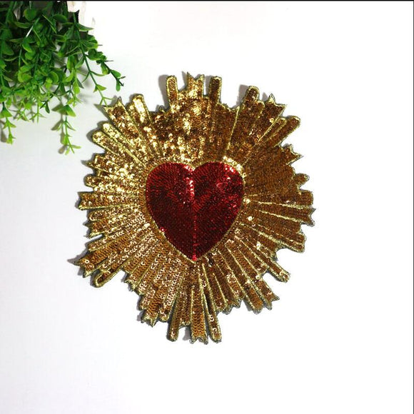 Sequined Flash Love Heart Embroidered Large Applique Sew On Patch