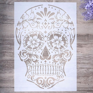 Day of The Dead Sugar Skull Stencil | A4 Size | DIY Craft Layering Stencil