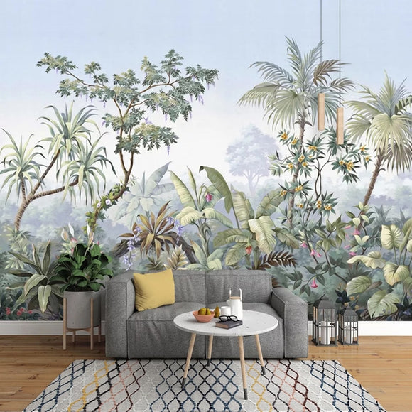 Retro Hand Painted Tropical Rainforest Wall Mural Wallpaper