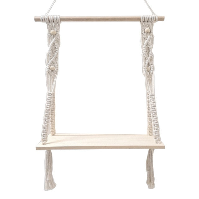 Macrame Wooden Shelf | Bohome Decor