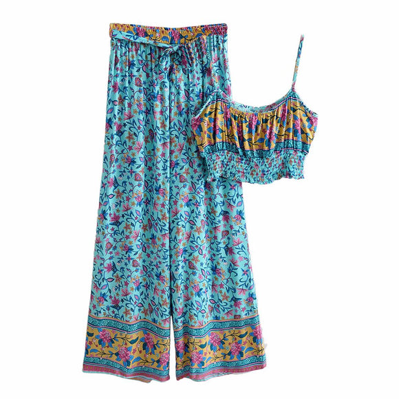 Two Piece Boho Wide Leg Pant & Midi Top Set
