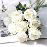 Five Long Stem White Silk Roses | Artificial Flowers