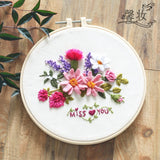 3D DIY Embroidery Kit with Hoop | 20cm | Flowers, Unicorn Squirrel