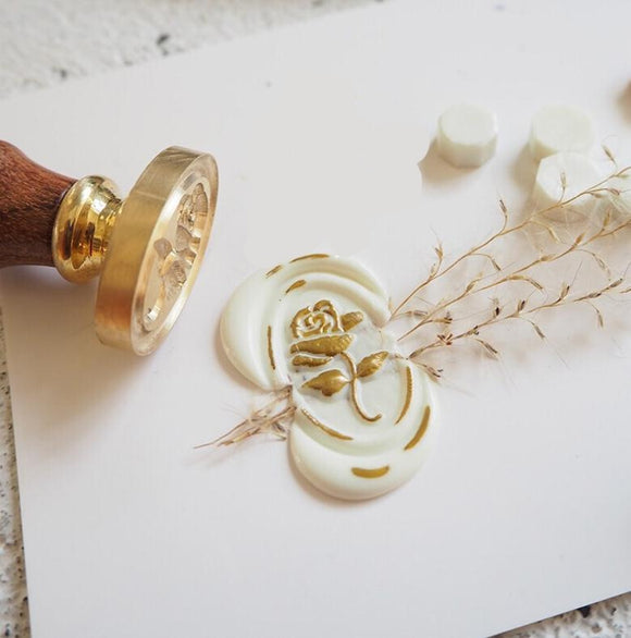 Embossed 3D Rose Flower Wax Seal Stamp | Wedding Laurel Wax Stamp Envelope Seal