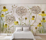 Retro Dandelions Watercolour Mural Wallpaper