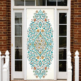 Blue Floral | Bohome Door Decal Stickers l Self-adhesive Wallpaper Door Wrap
