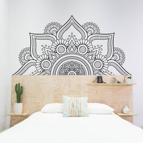 Half Mandala Sacred Geometry Vinyl Wall Sticker | Headboard Decals | Removable Mural