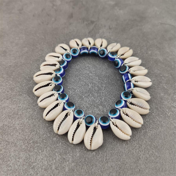 Blue Evil Eye Beads & Cowrie Shell Boho Bracelet